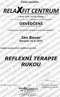 Reflexní terapie rukou Praha 9 - certifikát Jan Bauer