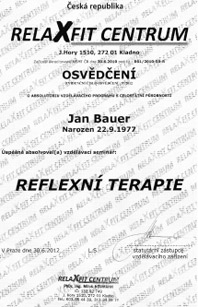 Reflexní terapie Praha 9, Libeň - certifikát Jan Bauer